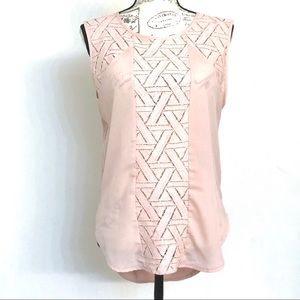 Banana Republic Pink Sleeveless Mixed Material Top